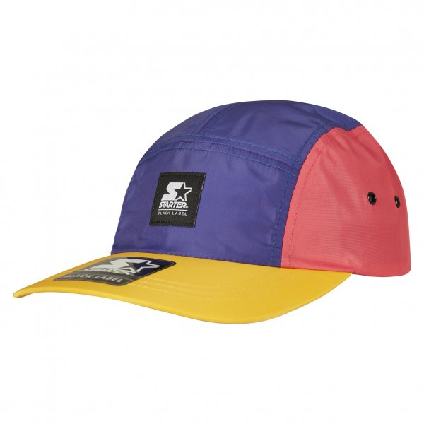 Starter 5-Panel Multicolored Logo Patch Jockey Cap (pink blue orange)