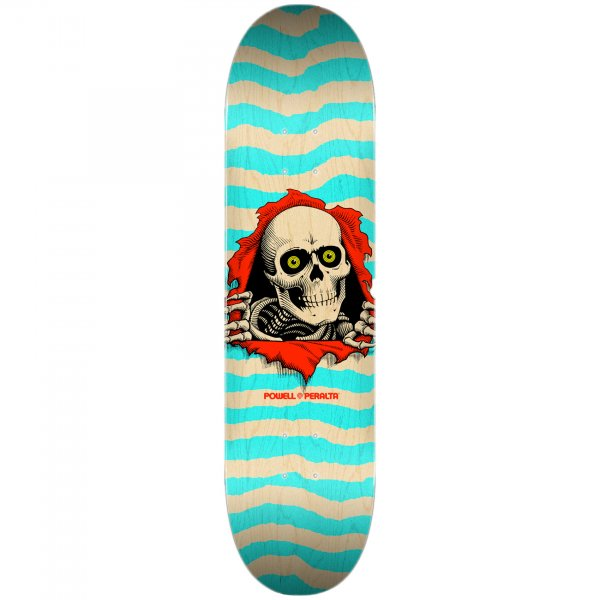 """Powell Peralta Skateboard Deck Ripper Natural 8.0"""" (turquoise)"""